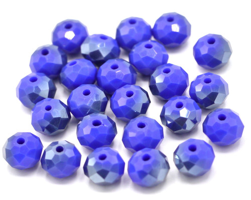 24pc 8x6mm Crystal Rondelle Beads, Opaque Sapphire Half-Metallic