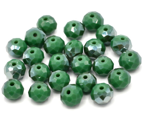 24pc 8x6mm Crystal Rondelle Beads, Opaque Emerald Green AB