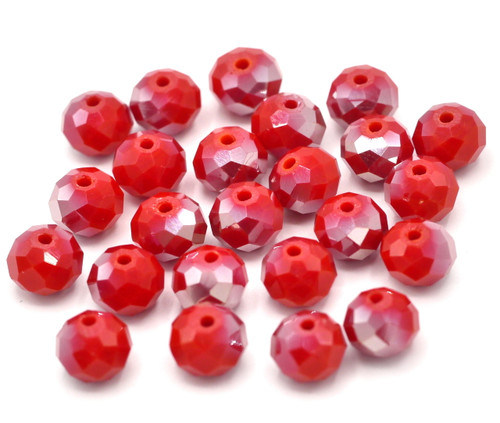 24pc 8x6mm Crystal Rondelle Beads, Opaque Siam Red AB