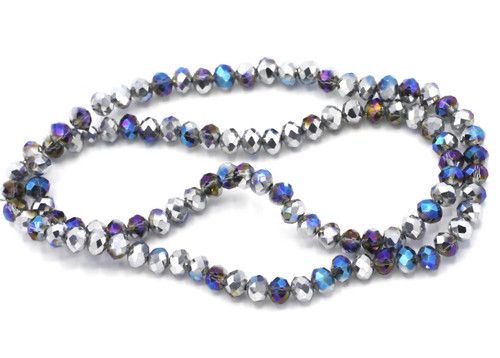 Approx 100pc 6x4mm Crystal Rondelle Beads, Cosmic Blue & Half-Silver Metallic