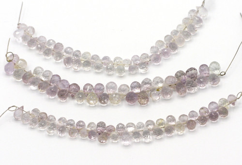 "4"" Strand 4-6mm Lavender Amethyst Faceted Top-Drilled Teardrop Beads"