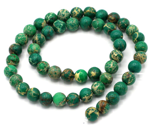 "15.5"" Strand 8mm Green Impression Jasper Round Beads"