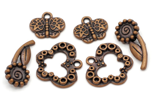 2 Sets Butterfly Toggle Clasps, Antique Copper