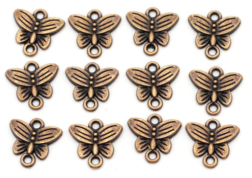 12pc 14mm Butterfly Links, Antique Copper