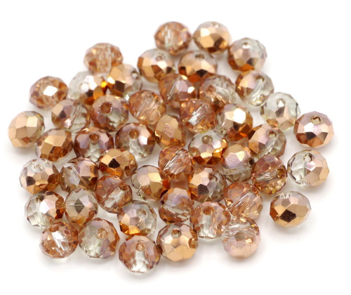48pc 6x4mm Crystal Rondelle Beads, Copper Rose