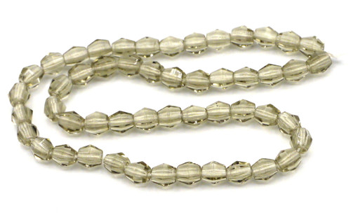 50pc 4mm Czech Glass Fire Polished Bicone Beads, Gray