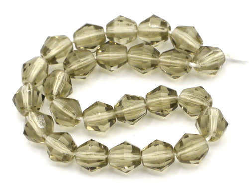 25pc 6mm Czech Glass Fire Polished Bicone Beads, Gray