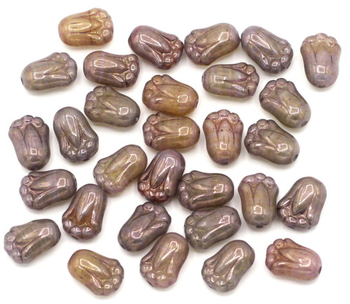 30pc 8x12mm Czech Glass Tulip Beads, Picasso Amethyst