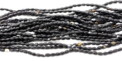"15"" Strand 4-5x6-7mm Black Agate Oval Beads"