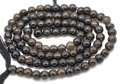 "14"" Strand 4-5mm Black Agate Hand-Cut Round Beads"