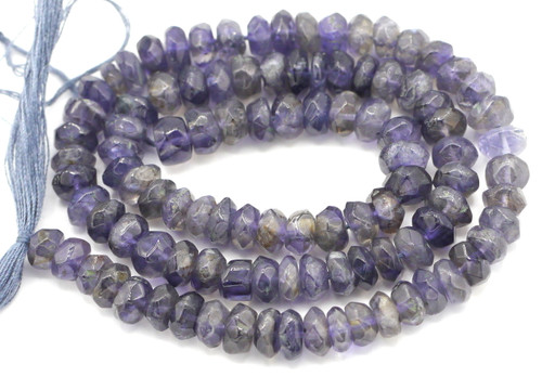 "14"" Strand 5-6mm Iolite Hand-Cut Faceted Rondelle Beads"