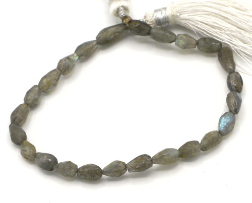 "6"" Strand 6-9mm Labradorite Hand-Cut Faceted Teardrop Beads"