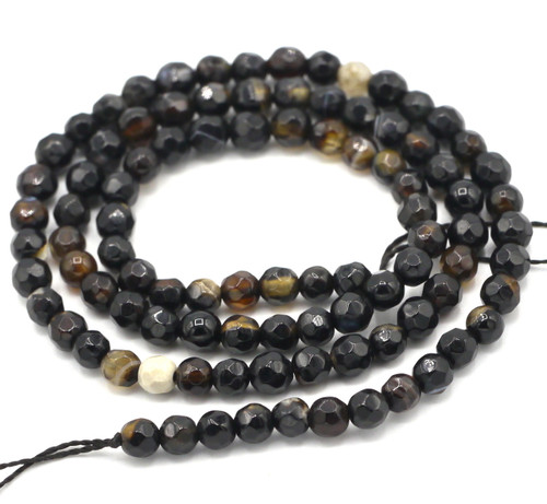 "14"" Strand 4mm Black Agate Faceted Round Beads"