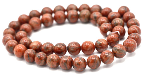"15"" Strand 8mm Brecciated Jasper Round Beads"
