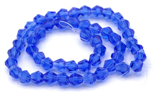 48pc 6mm Crystal Bicone Beads, Sapphire