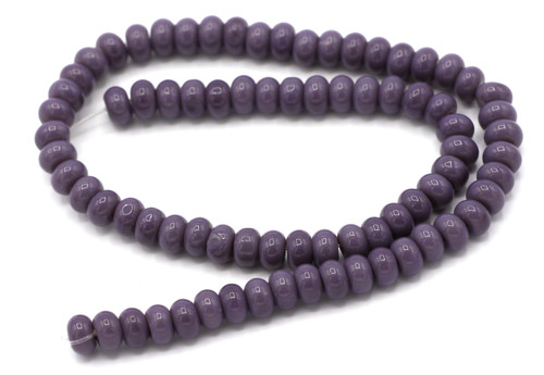 "10"" Strand 6x4mm Opaque Glass Rondelle Beads, Violet"
