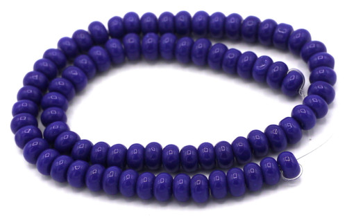 "10"" Strand 6x4mm Opaque Glass Rondelle Beads, Lapis Blue"