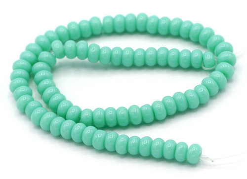 "10"" Strand 6x4mm Opaque Glass Rondelle Beads, Sky Blue"