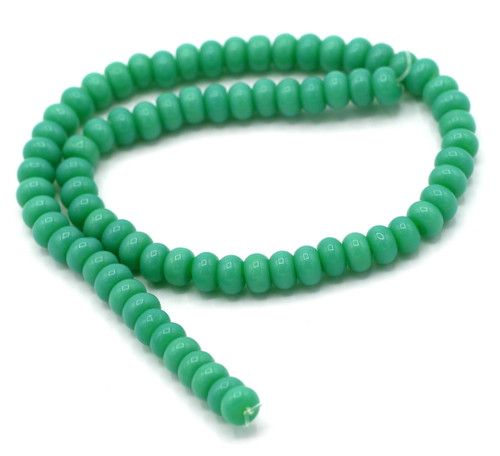 "10"" Strand 6x4mm Opaque Glass Rondelle Beads, Turquoise Blue-Green"