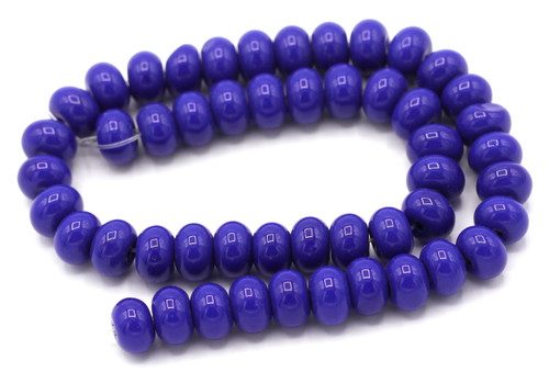"9.5"" Strand 8x6mm Opaque Glass Rondelle Beads, Lapis Blue"