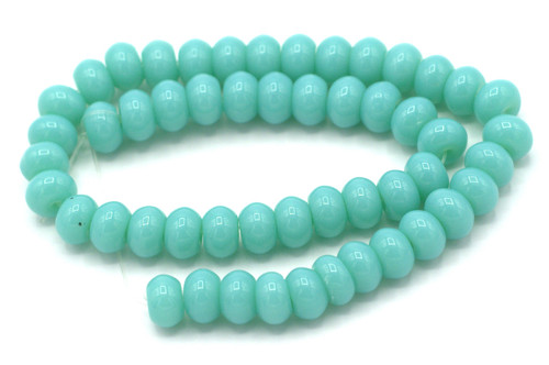 "9.5"" Strand 8x6mm Opaque Glass Rondelle Beads, Sky Blue"