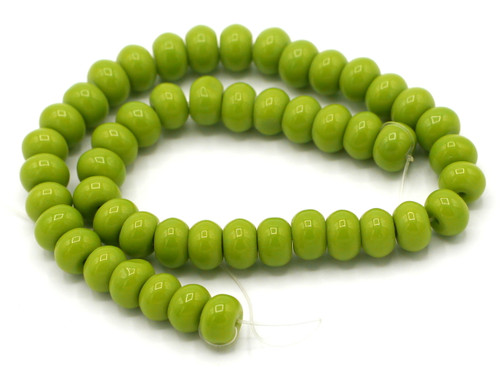 "9.5"" Strand 8x6mm Opaque Glass Rondelle Beads, Olive Green"