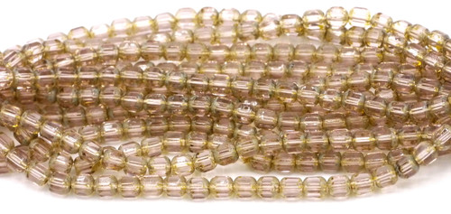 25pc Czech Glass Picasso Light Amethyst Faceted Tube Beads
