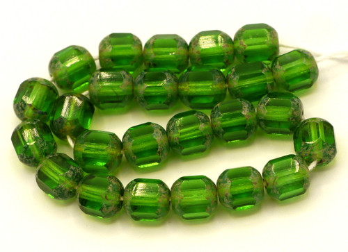 25pc 8mm Czech Glass Faceted Tube Beads, Green w/Gold