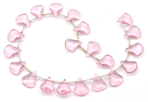 "10"" Strand 17mm Faceted Glass Pink Petal Beads"