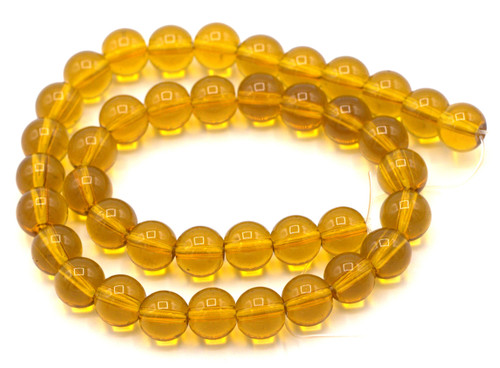 "10"" Strand 8mm Glass Round Beads, Topaz"