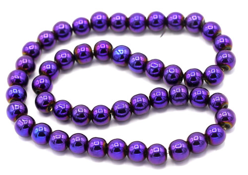 "10"" Strand 6mm Glass Round Beads, Purple Iris"