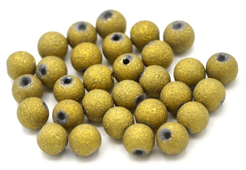 30pc 6mm Brass-Plated Glass Stardust Beads