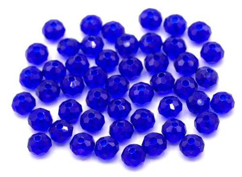48pc 6x4mm Crystal Rondelle Beads, Sapphire