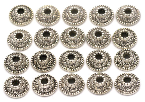 20pc 9mm Dotted Round Bead Cap, Antique Silver