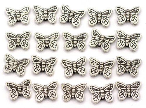 20pc 14x11mm Butterfly Beads, Antique Silver