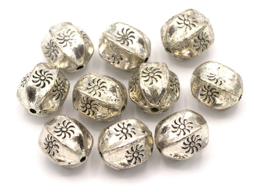 10pc 11x9mm 6-Sided Drum Beads, Antique Silver