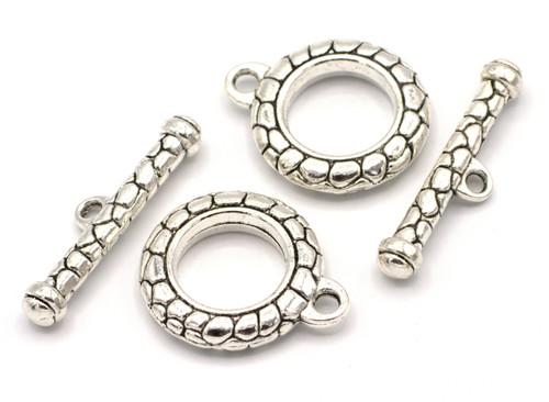 2 Sets 30x38mm Jumbo Textured Toggle Clasps, Antique Silver