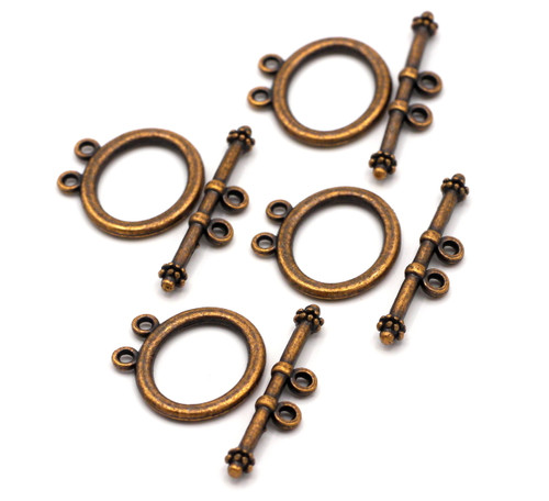 4 Sets 21x32mm Double Strand Toggle Clasp, Antique Copper