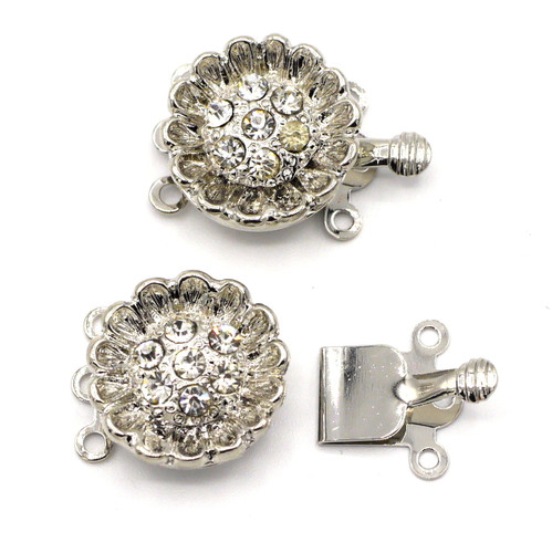 2pc 20x15mm 3-Strand Rhinestone Box Clasp, Silvertone Sunflower