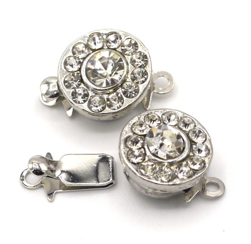 2pc 13x10mm Single-Strand Rhinestone Box Clasp, Silvertone Round