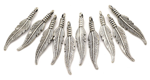 10pc 31mm Feather Pendant, Antique Silver Finish