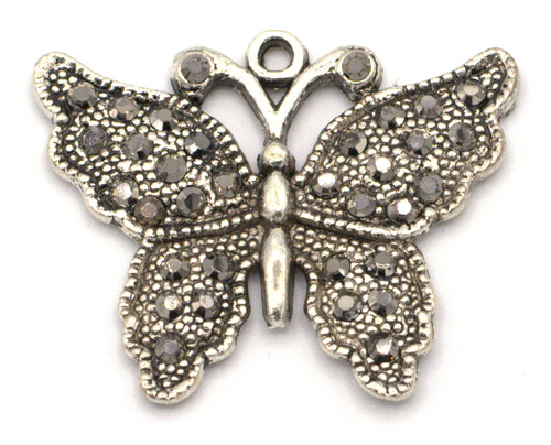 "33x27mm Rhinestone Butterfly Pendant, ""Marcasite"" Silver"