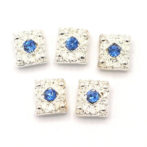 5pc 10.5mm Rhinestone Double-Strand Spacer Bar Beads, Silver