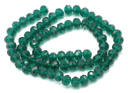 """22"""" Strand (Approx 72pc) 10x8mm Faceted Crystal Rondelle Beads, Emerald"""