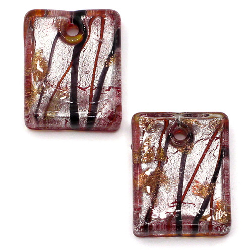 2pc Approx 20mm Top-Drilled Flat Rectangle Lampwork Glass Drops, Siam Red & Silver