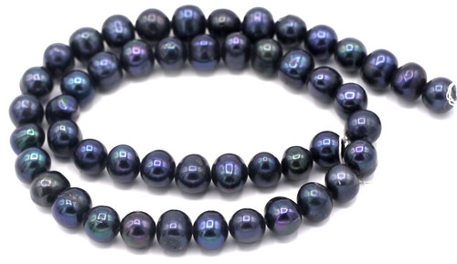 "SAVE 80%-- 15"" Strand Approx 8-9mm Freshwater Pearl Semi-Round Beads, Midnight"
