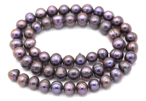 "SAVE 80%-- 15"" Strand Approx 8mm Freshwater Pearl Semi-Round Beads, Lilac"