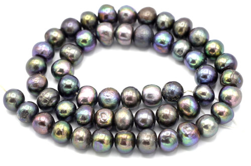 """SAVE 80%-- 15"""" Strand Approx 9mm Freshwater Pearl Semi-Round Beads, Silver Peacock"""
