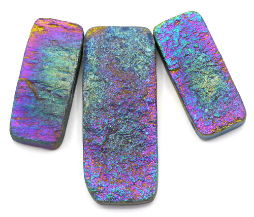 3pc 35-50mm Electroplated Agate Rectangle Pendant Set #3