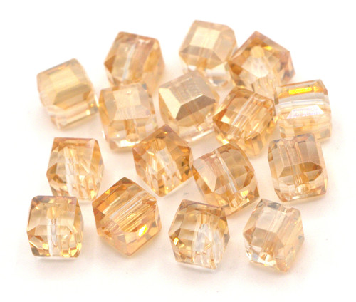 16pc 6mm Crystal Cube Beads, Pale Topaz